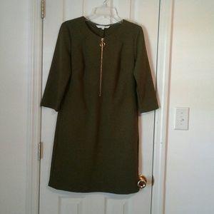 Trina Turk olive sheath dress with gold zipper